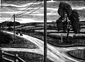 wood-engraving original print: The Road Home for Mountains and Molehills by Frances Cornford